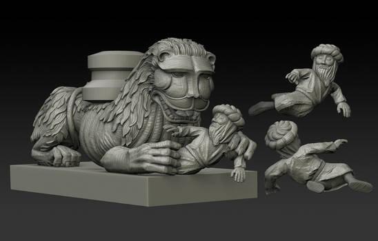Romanesque lion sculpture WIP