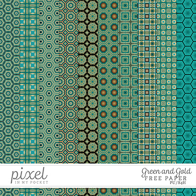 Green and Gold // Papers by pixelinmypocket
