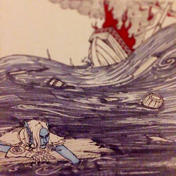 InkTober day 30 (wreck)- Adrift