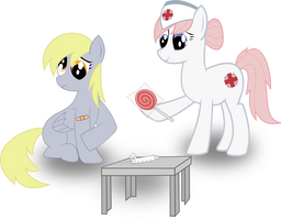 Nurse Redheart and Derpy by CrimsonLynx97