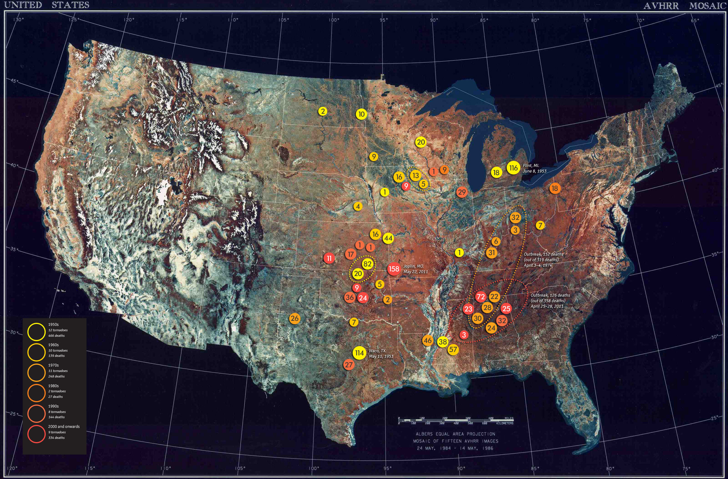 every fatal f5 or ef5 tornado in the usa since 1950 2500 x 1647
