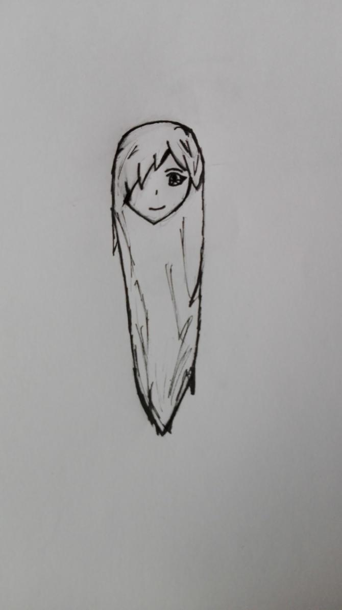 Anime Girl Head Sketch w/ inking by KotaSosuke