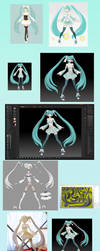 Making of full scratch Mint Miku figure by kamipallet