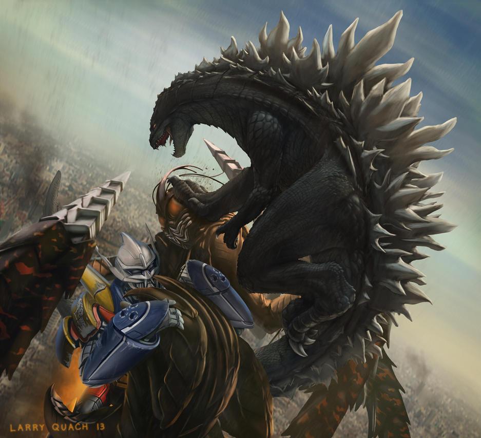 Godzilla and Jet Jaguar vs Megalon by NoBackstreetboys