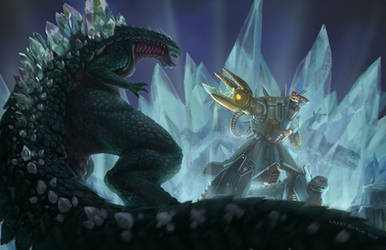 Space Godzilla vs Moguera and Baby Godzilla by NoBackstreetboys