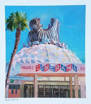 Plein-air of Godzilla at the Cinerama Dome