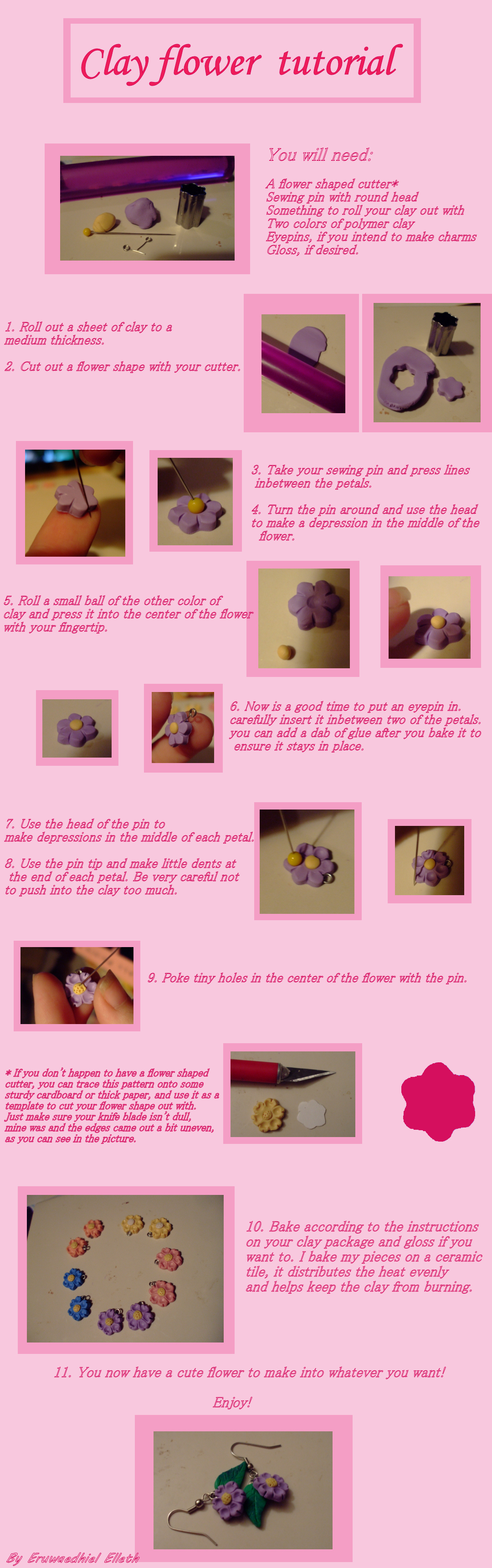 Clay flower tutorial by EruwaedhielElleth