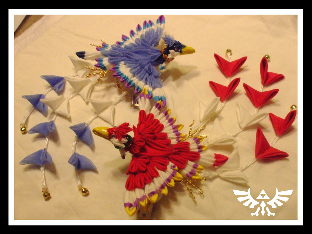 Skyward Sword loftwing kanzashi 3 by EruwaedhielElleth