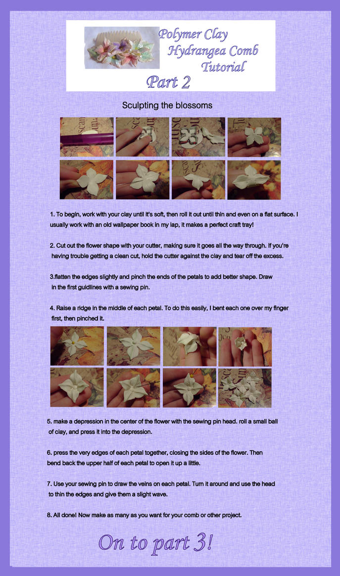 Polymer Clay Hydrangea Comb Tutorial Part 2 by EruwaedhielElleth
