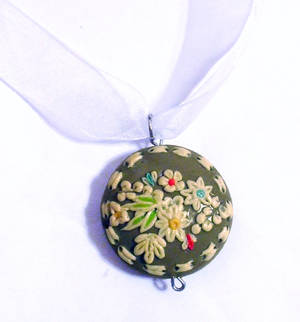 floral polymer clay pendant