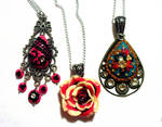 3 polymer clay necklaces