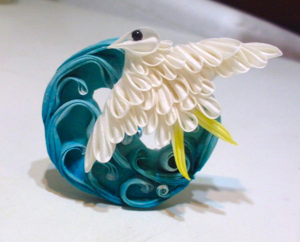 Chidori And Ocean Waves Kanzashi By Eruwaedhielelleth On
