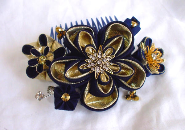 Navy And Gold Kanzashi Comb By Eruwaedhielelleth On Deviantart