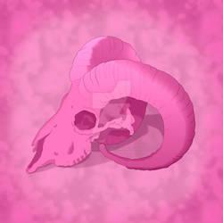 Pink Ram Skull