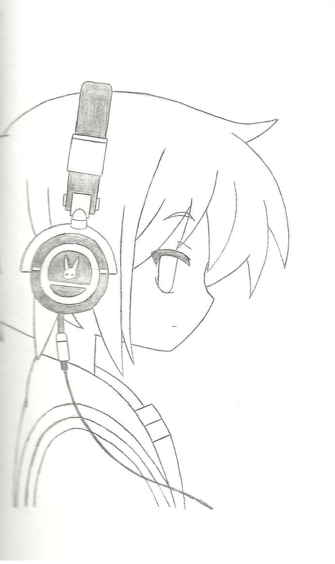 Line Art Headphones : Anime with headphones by luvsandy on deviantart