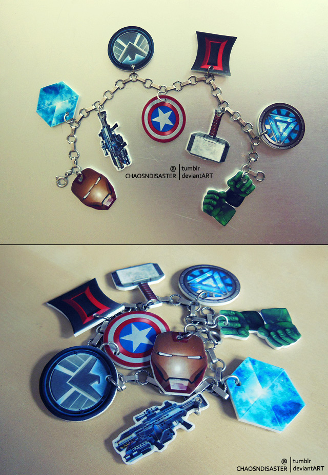 Avengers charms bracelet by ChaosNDisaster