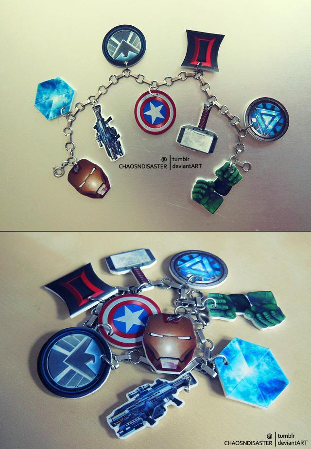 Avengers charms bracelet by ChaosNDisaster