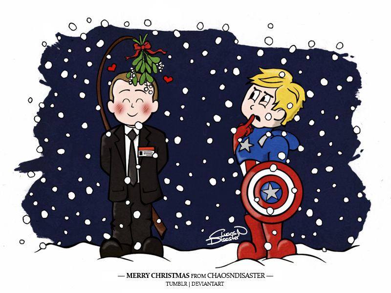 Xmas Card 2 - Phil and Cap by ChaosNDisaster