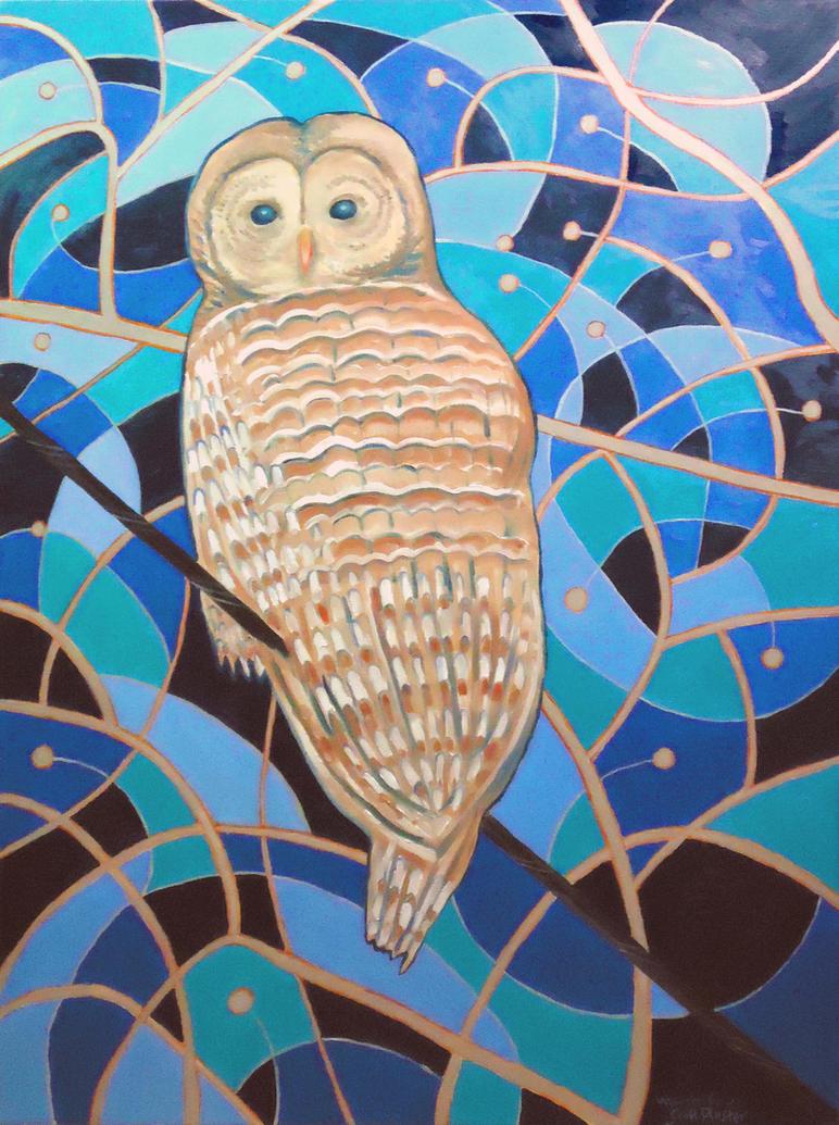 Blue Al Whimsical Owl by scott-plaster