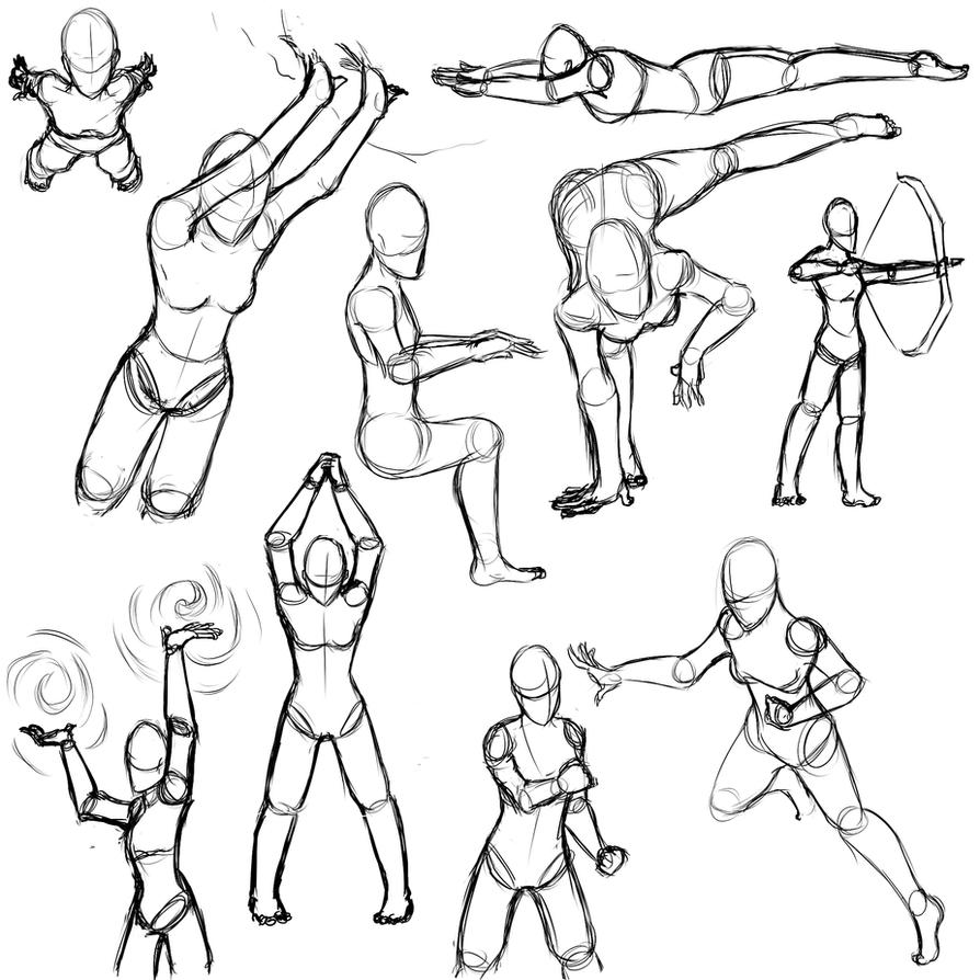 Line Art Action Photo : Female action poses by sefti on deviantart