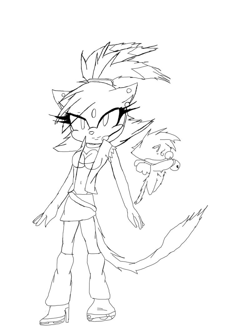 Blaze the cat line art by usagikari on deviantart for Blaze the cat coloring pages