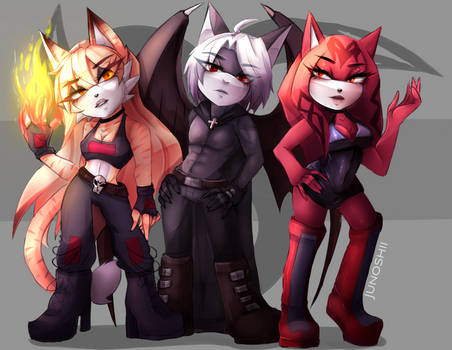 .:Commission:. Rina, Dendaar and Rose