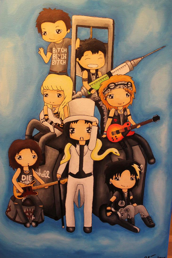 Alice Cooper Band Chibis by EmpressSuccoria