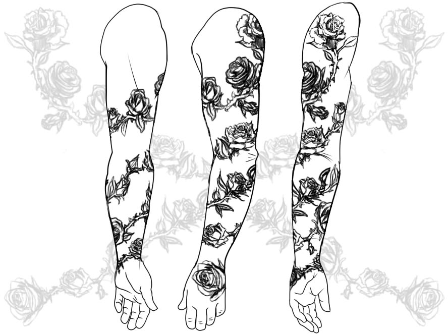 Blakes Tattoo Right Arm Rose Vine By Yellowflowerevy On Deviantart