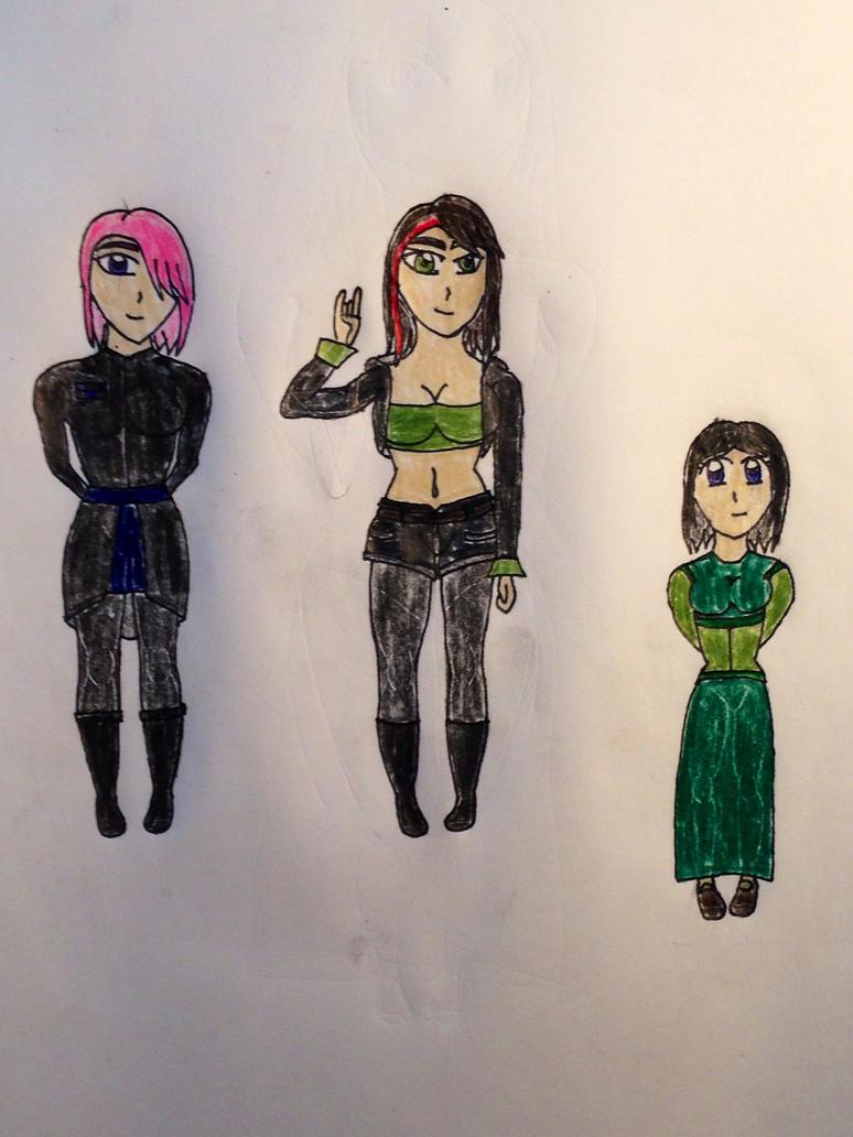 My three female OCs by Rikuthedragonslayer