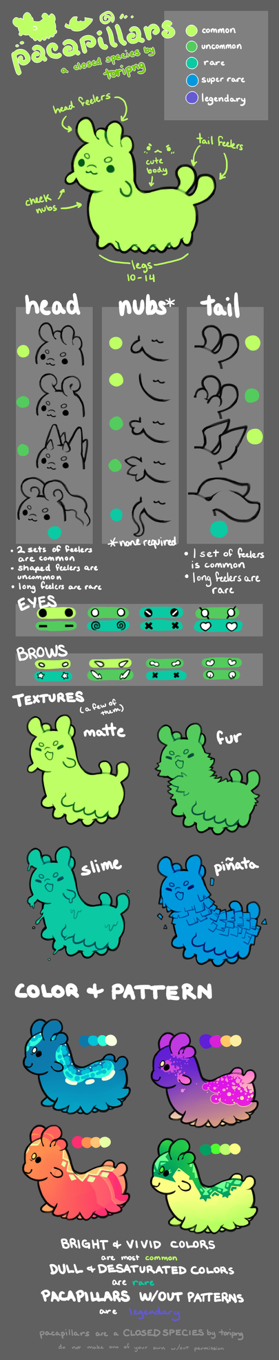 Pacapillars - Species Guide [outdated] by toripng