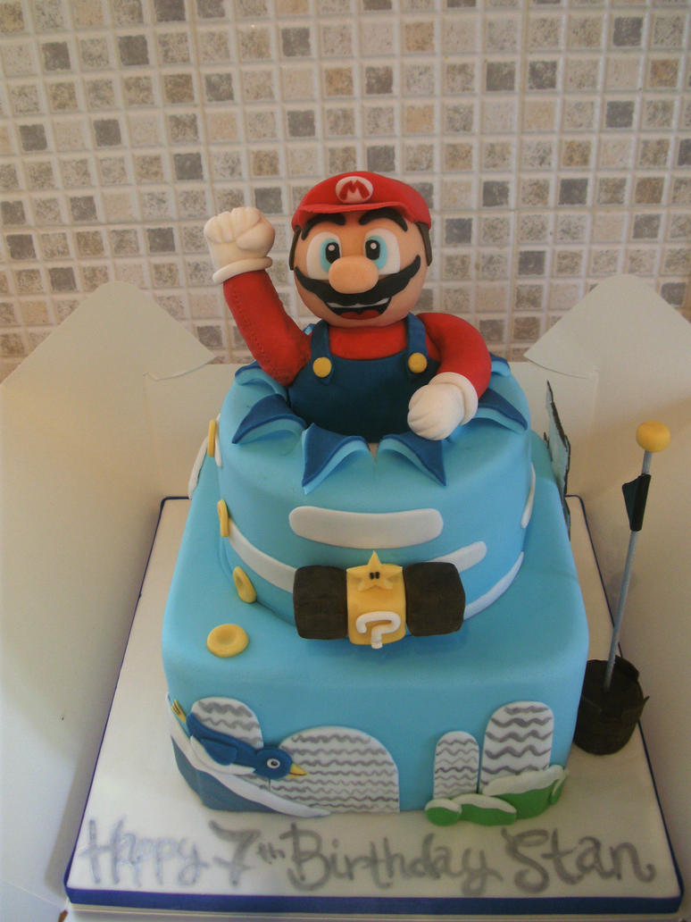Mario Ice World Cake by gertygetsgangster