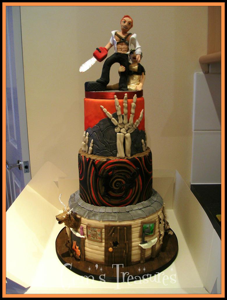 The Evil Dead Halloween Wedding Cake by gertygetsgangster
