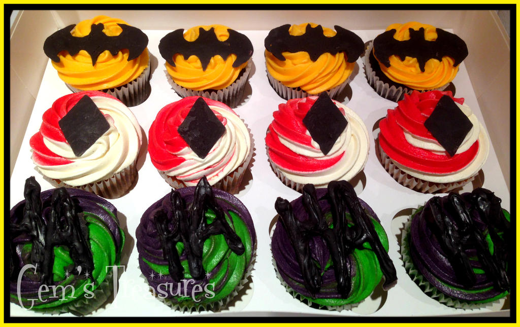 Batman and Co. Cupcakes by gertygetsgangster