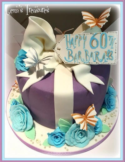60th Gift Box Cake by gertygetsgangster