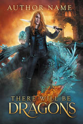 There Will Be Dragons - premade book cover - SOLD