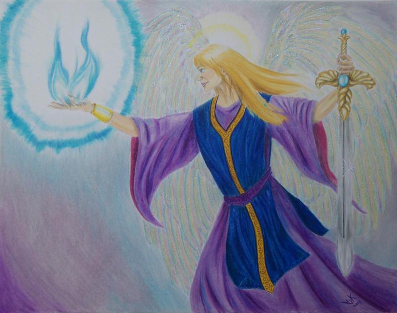 Twin Blue Flames by Vivienne-Mercier