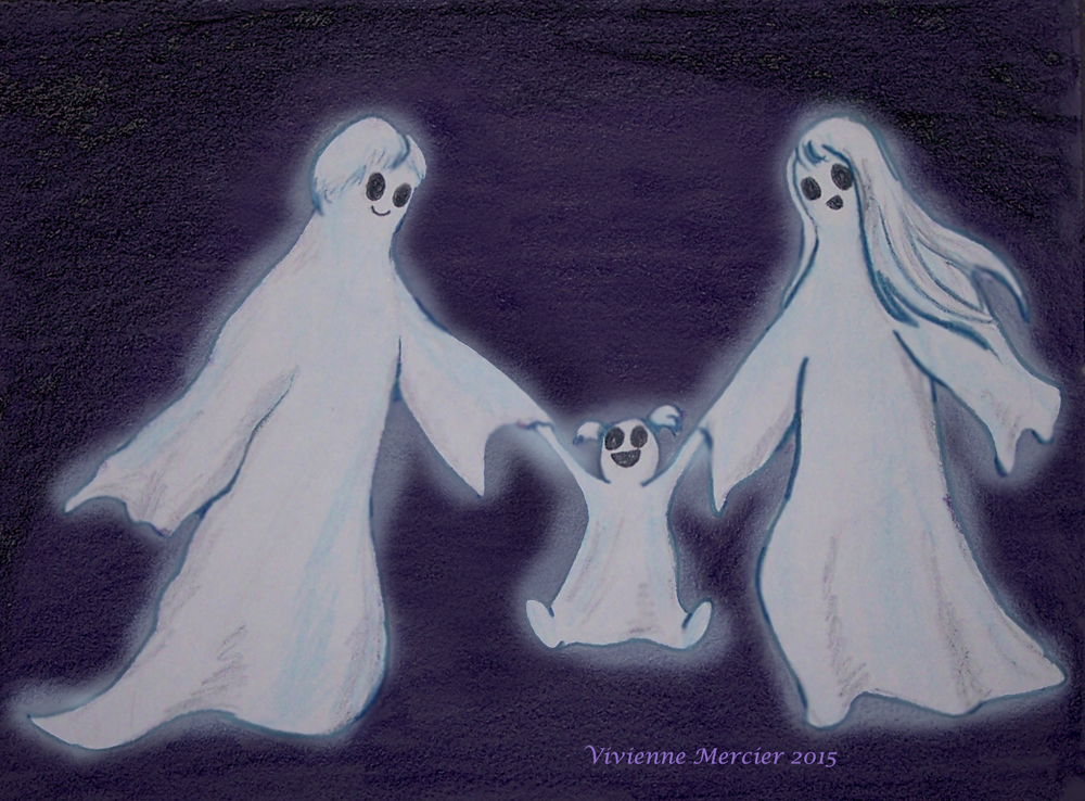 Happy ghost family by Vivienne-Mercier