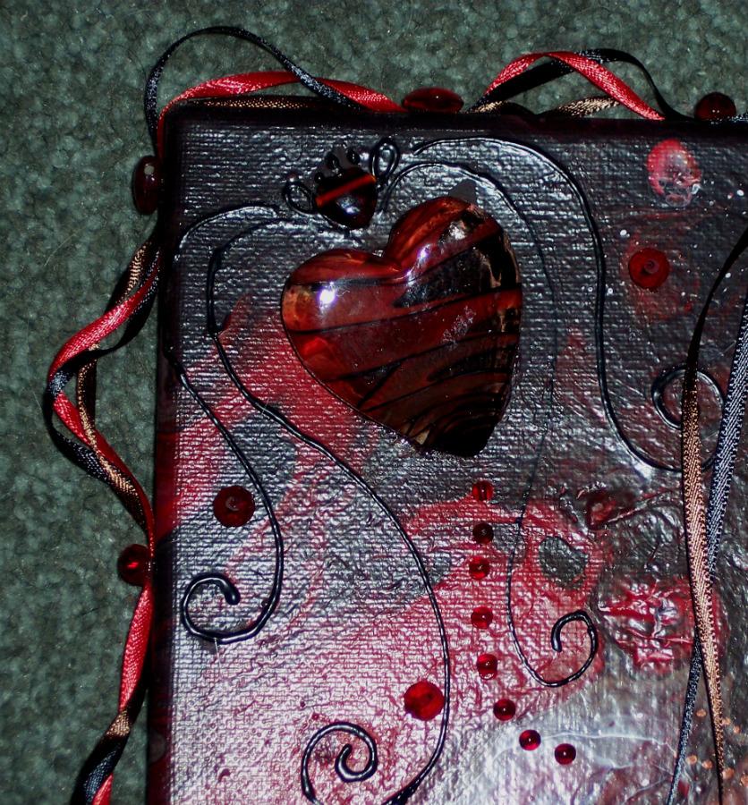 Glass heart closeup by Vivienne-Mercier