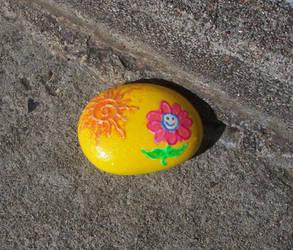 Yellow glitter flower rock