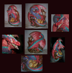 Pink dragon mother and baby montage