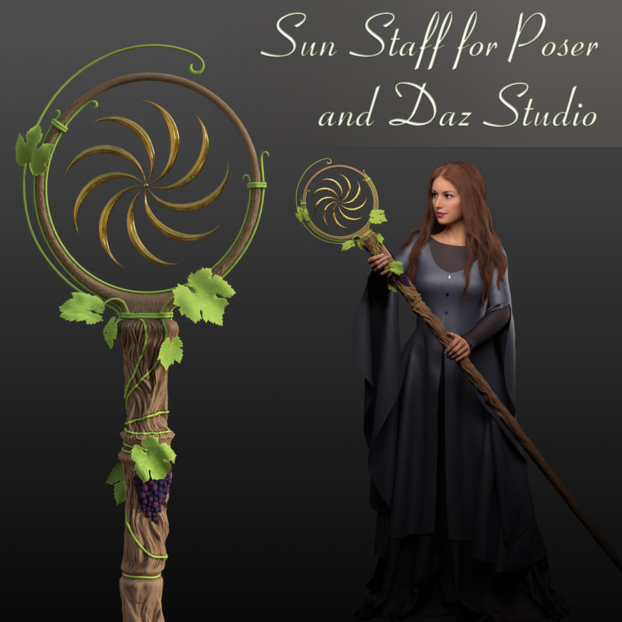 Sun Staff Prop for Poser and Daz Studio by TamMebonia