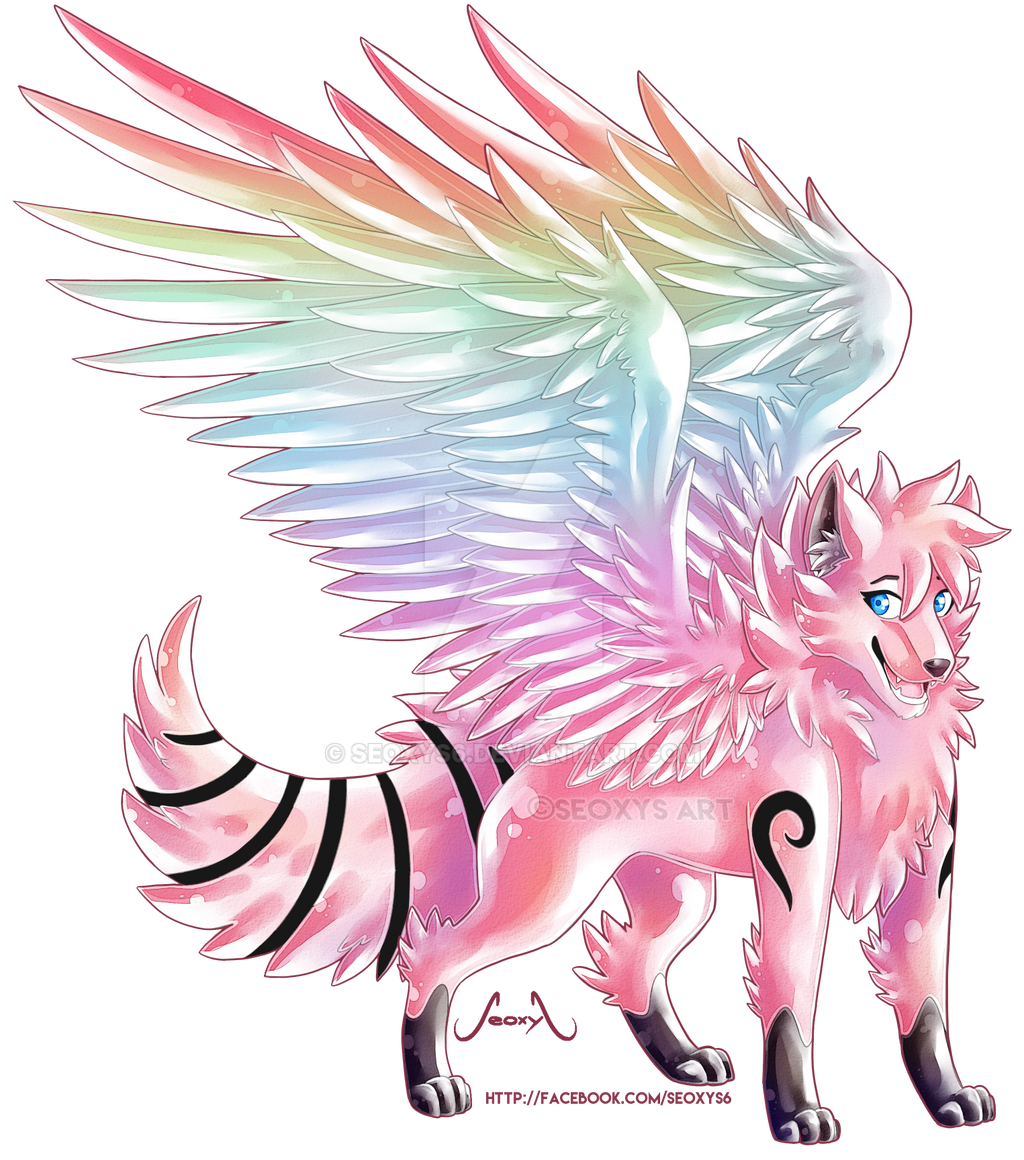 Rainbow Wolf OC [Commission] by Seoxys6 on DeviantArt
