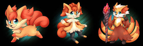 Fennekin x Vulpix Evolution Line by Seoxys6