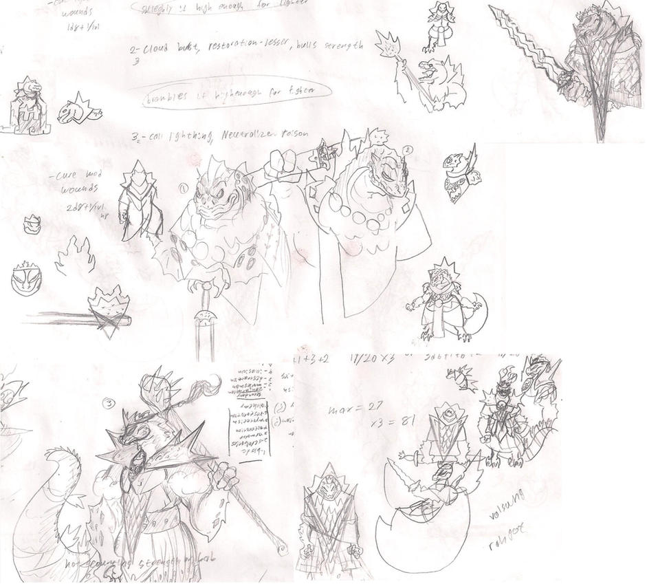 Dragonborn Cleric of Godzilla - design study by Jesus-lizard