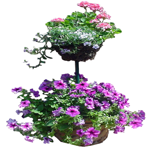 Double Planter with Pink Flowers by LilipilySpirit
