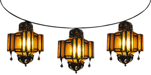 Strung Amber Fiesta Moroccan Lamps