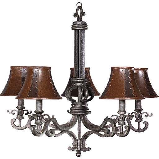 Chandelier with leather lamp shades