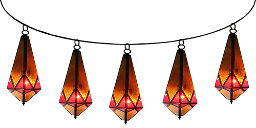 Strung Red Diamond Moroccan Lamps