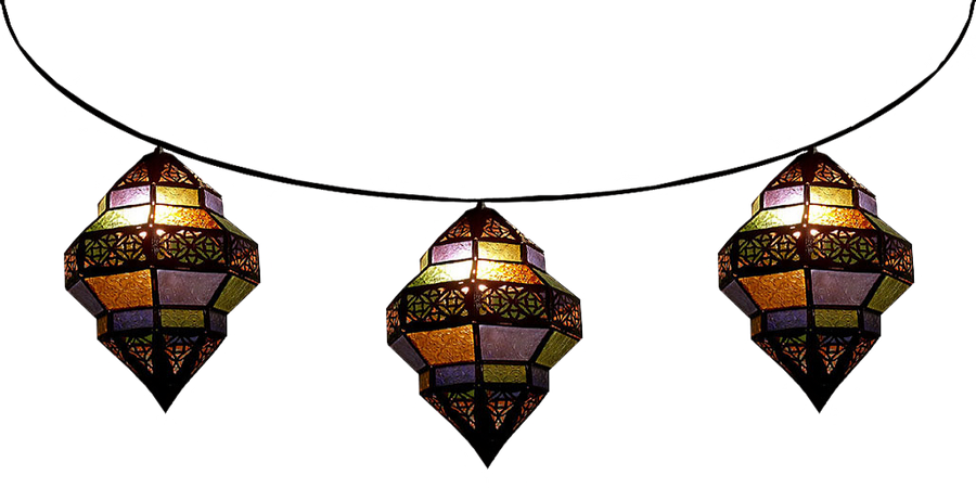 strung trombia moroccan lamps by