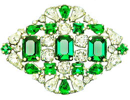 Art Deco Emerald and Diamond Brooch by LilipilySpirit